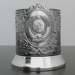 Подстаканник никелированный «Советский» (герб СССР) с чернью «Кольчугино»