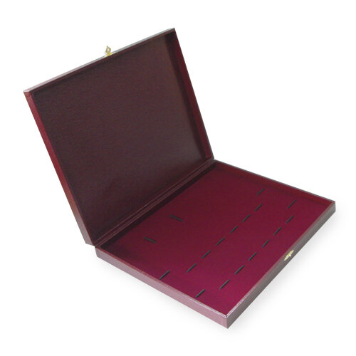 Коробка для 9 столовых приборов (бордовая с замочком)