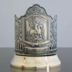 Подстаканник латунный «Георгий Победоносец» с чернью «Кольчугино»