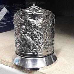 Подстаканник никелированный «Мишки в лесу» Кольчугинский мельхиор.