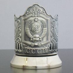 Подстаканник латунный «Герб СССР» с чернью «Кольчугино»