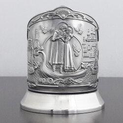 Подстаканник никелированный «Пётр и Февронья» с чернью «Кольчугино»