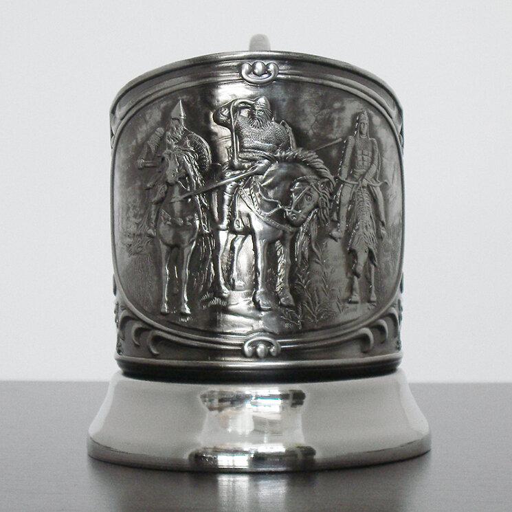 """Подстаканник никелированный """"Три богатыря"""" с чернью """"Кольчугино"""""""
