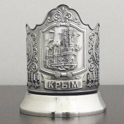 Подстаканник никелированный «Крым» (Ласточкино гнездо) с чернью «Кольчугино»