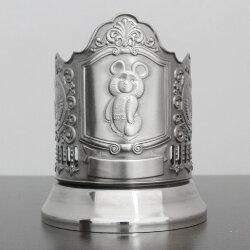 """Подстаканник никелированный """"Олимпийский мишка"""" с чернью """"Кольчугино"""""""