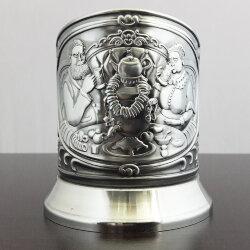 Подстаканник никелированный «Приятного чаепития» (новая пластина) с чернью «Кольчугино»