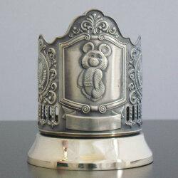 Подстаканник латунный «Олимпийский мишка» с чернью «Кольчугино»