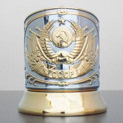 Подстаканник никелированный с золотом «Герб СССР» (новая пластина) «Кольчугино»