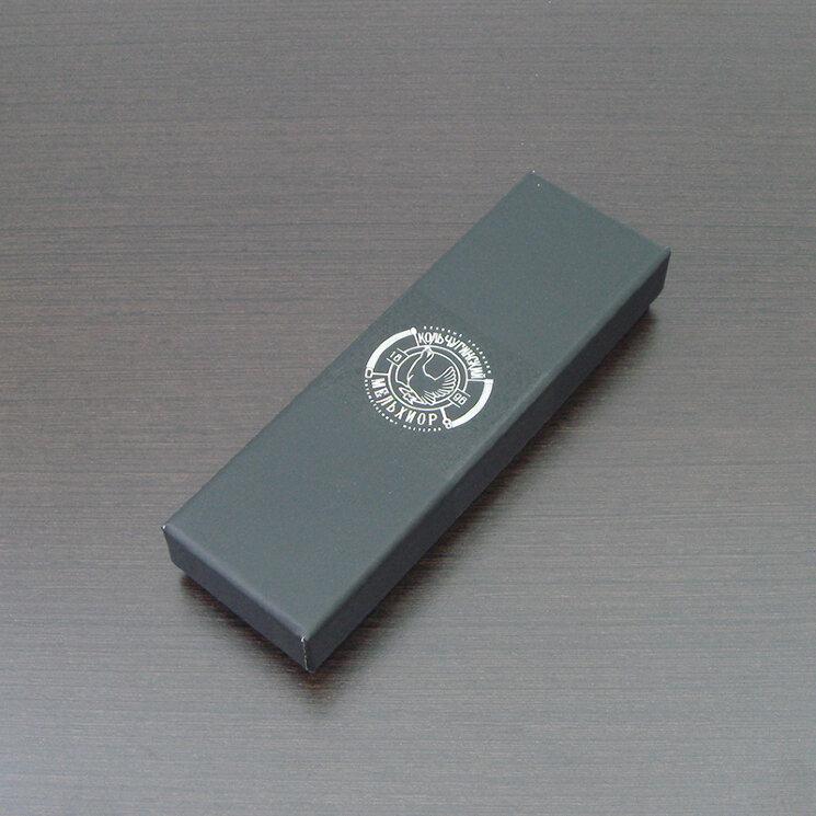Коробка для одной чайной ложки (чёрная, надпись Кольчугинский мельхиор)