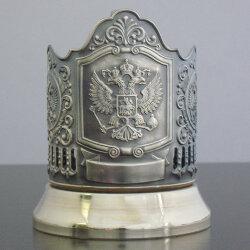 Подстаканник латунный «Герб РФ» с чернью «Кольчугино»