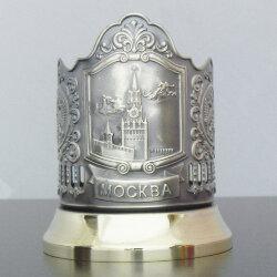 Подстаканник латунный «Спасская башня» с чернью «Кольчугино»