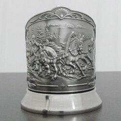 Подстаканник никелированный «Тройка» Триумфальный с чернью. Кольчугинский мельхиор