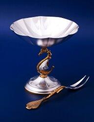 Серебряная лимонница №2 с вилкой для лимона (Мстёрский ювелир)