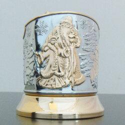 Подстаканник никелированный с золотом «Новогодний» Кольчугино