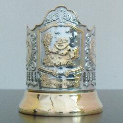Подстаканник никелированный с золотом «Банный» Кольчугино