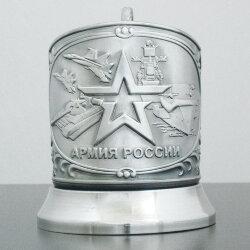 Подстаканник никелированный с чернением «Армия» Кольчугино»