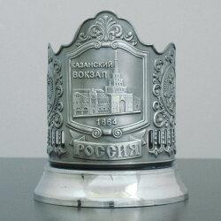 Подстаканник никелированный «Казанский вокзал» с чернью «Кольчугино»
