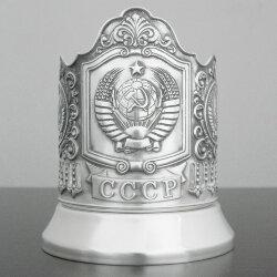 Подстаканник латунный посеребренный «Герб СССР» с чернью «Кольчугино»