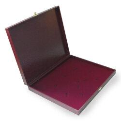 Коробка для 5 столовых приборов (бордовая с замочком)