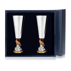 """Набор серебряных рюмок """"Золотая рыбка"""" с золочением (2 штуки). Аргента"""