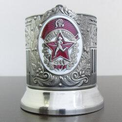 Подстаканник никелированный «ГТО» с эмалью и чернением «Кольчугино»
