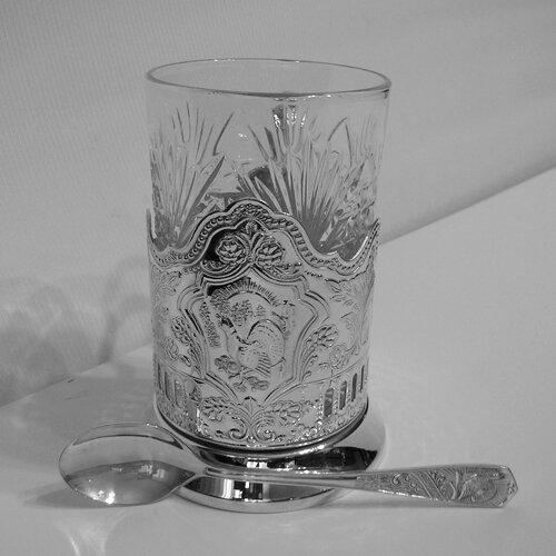 """Набор для чая «Кольчугинские зори (Глухарь)» посеребренный """"Кольчугино"""""""