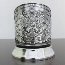 Подстаканник никелированный «Герб России» (новая пластина) с чернью «Кольчугино»