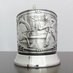 Подстаканник никелированный «Металлург» (новая пластина) с чернью «Кольчугино»