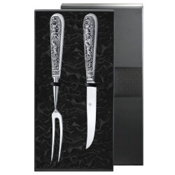 Набор для стейка посеребренный с чернением (вилка и нож для стейка) + футляр. Кольчугинский мельхиор.