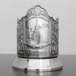 """Подстаканник никелированный """"Спасская башня"""" с чернью """"Кольчугино"""""""