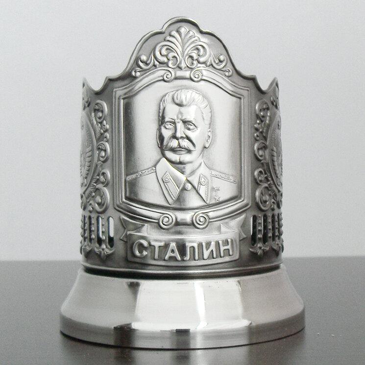 """Подстаканник никелированный """"Сталин"""" с чернью """"Кольчугино"""""""