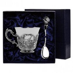 """Серебряная чайная чашка """"Королевская охота"""" с чернением. Аргента"""