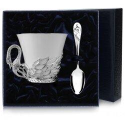 """Серебряная чайная чашка """"Лебедь"""". Аргента"""